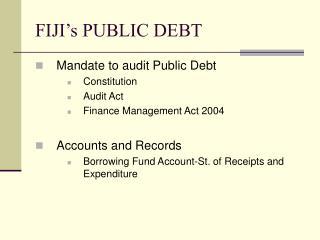FIJI's PUBLIC DEBT