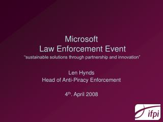 "Microsoft  Law Enforcement Event ""sustainable solutions through partnership and innovation"""
