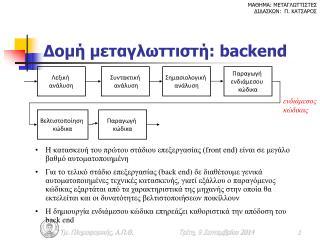 Δομή μεταγλωττιστή:  backend