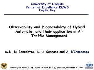University of L'Aquila Center of Excellence DEWS L'Aquila, Italy