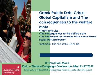 Dr Pentaraki Maria– Oslo – Welfare Campaign Conference- May 21-22 2012