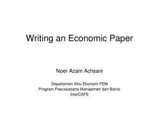 Writing an Economic Paper