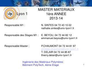 MASTER MATERIAUX 1ère ANNEE 2013-14