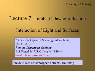 Lecture 7:  Lambert's law & reflection Interaction of Light and Surfaces