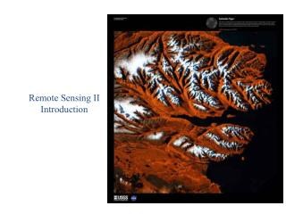 Remote Sensing II Introduction