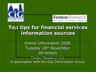 Top tips for financial services information sources