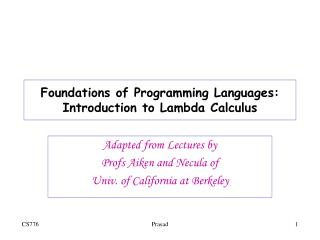 Foundations of Programming Languages: Introduction to Lambda Calculus