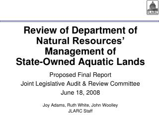 Review of Department of Natural Resources  Management of  State-Owned Aquatic Lands