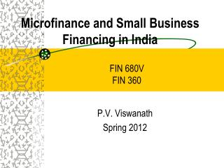 Microfinance and Small Business Financing in India