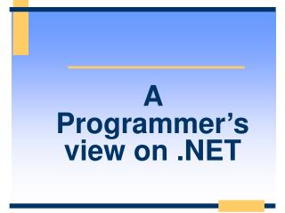 A Programmer's view on .NET