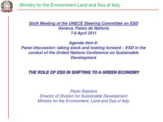 Ministry for the Environment Land and Sea of Italy