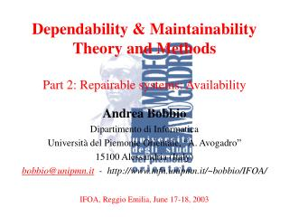 Dependability & Maintainability Theory and Methods Part 2: Repairable systems: Availability