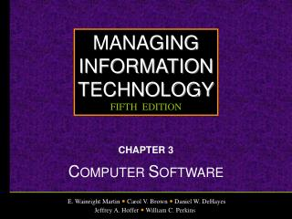 CHAPTER 3 C OMPUTER  S OFTWARE