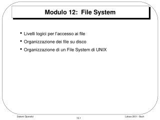 Modulo 12:  File System