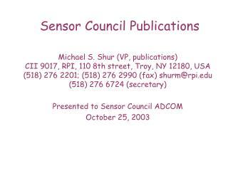 Sensor Council Publications