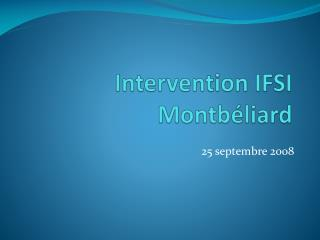 Intervention IFSI Montbéliard