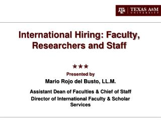 International Hiring: Faculty, Researchers and Staff
