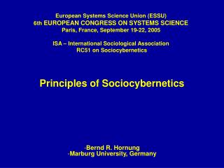 Principles of Sociocybernetics