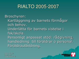 Avtalet mellan kommun och landsting 2007-2009: