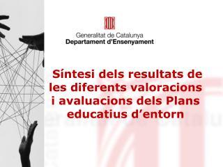 Síntesi dels resultats de les diferents valoracions i avaluacions dels Plans educatius d'entorn