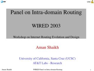 Panel on Intra-domain Routing WIRED 2003 Workshop on Internet Routing Evolution and Design