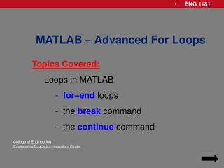 MATLAB – Advanced For Loops