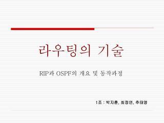 RIP 과  OSPF 의 개요 및 동작과정