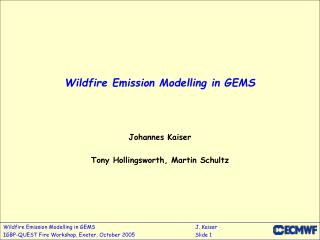 Wildfire Emission Modelling in GEMS
