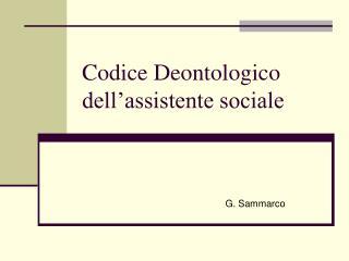 Codice Deontologico dell'assistente sociale