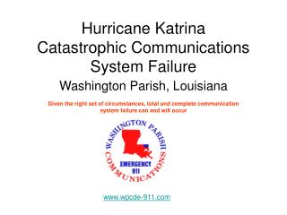 Hurricane Katrina Catastrophic Communications System Failure