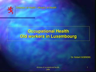 Occupational Health Old workers in Luxembourg