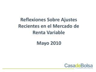 Reflexiones Sobre Ajustes Recientes en el Mercado de Renta Variable