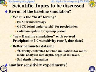 Scientific Topics to be discussed