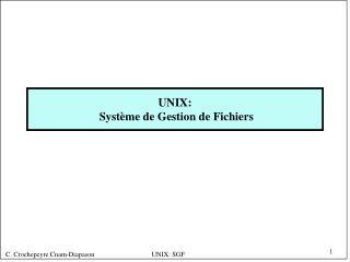 UNIX:  Système de Gestion de Fichiers