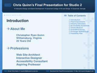 Chris Quinn's Final Presentation for Studio 2