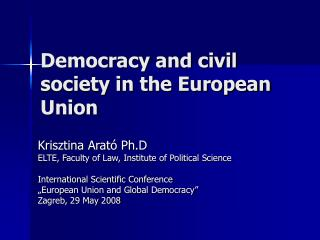 Democracy and civil society in the European Union