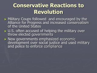 Conservative Reactions to Revolution