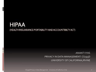 HIPaa (health insuarance portability and accountibilty act)
