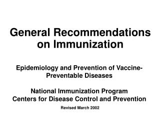 General Recommendations on Immunization