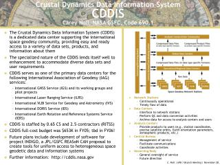 Crustal Dynamics Data Information System CDDIS Carey Noll, NASA GSFC, Code 690.1