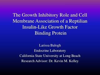 Larissa Balogh Endocrine Laboratory  California State University at Long Beach