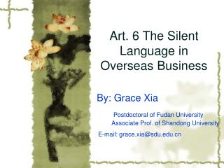 Art. 6 The Silent Language in Overseas Business