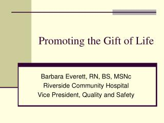 Promoting the Gift of Life