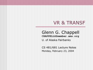 VR & TRANSF