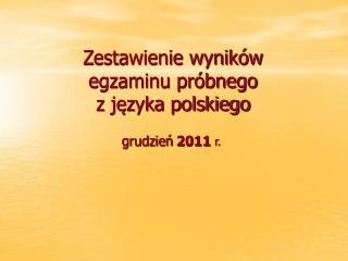Zestawienie wyników  egzaminu próbnego  z języka polskiego