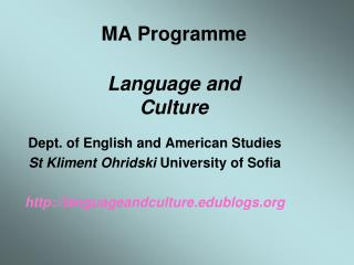 MA Programme Language and Culture