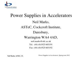 Power Supplies in Accelerators