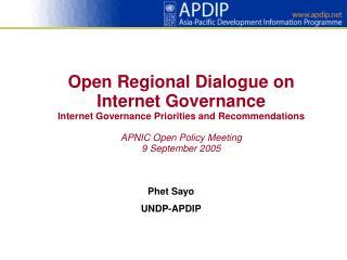 Phet Sayo UNDP-APDIP