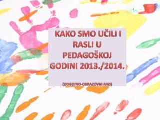 KAKO SMO UČILI I RASLI U PEDAGOŠKOJ GODINI 2013./2014. (ODGOJNO-OBRAZOVNI RAD)