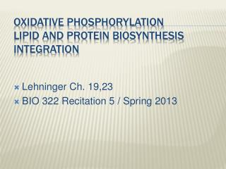 Oxidative Phosphorylation Lipid and Protein Biosynthesis Integration